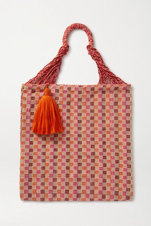 Bianca Tasseled Crocheted Cotton-blend Tote - Orange