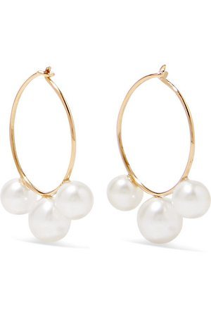 Saskia Diez | Gold pearl hoop earrings | NET-A-PORTER.COM