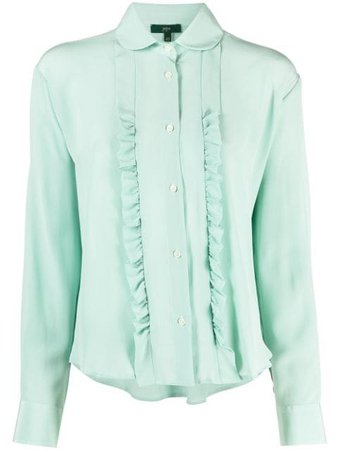 Shop green Jejia ruffled longsleeve silk blouse with Express Delivery - Farfetch