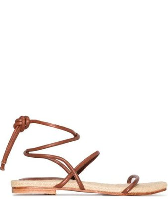 Shop brown St. Agni Leo tie-fastening sandals with Express Delivery - Farfetch