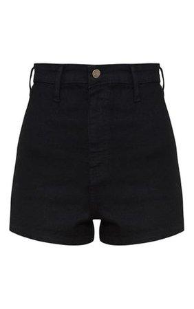 Black Disco Fit Short | Denim | PrettyLittleThing