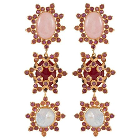Aemilia Earrings Pink & Pearl | Christie Nicolaides