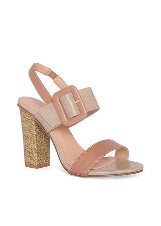 Buckle Detail Heels in Tan Multi | VENUS
