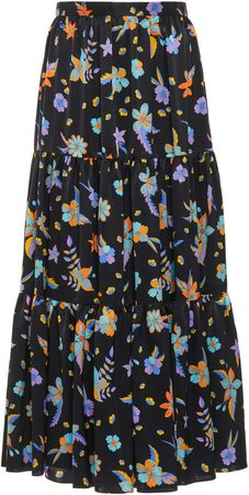 Andrew Gn Printed Silk Tiered Maxi Skirt