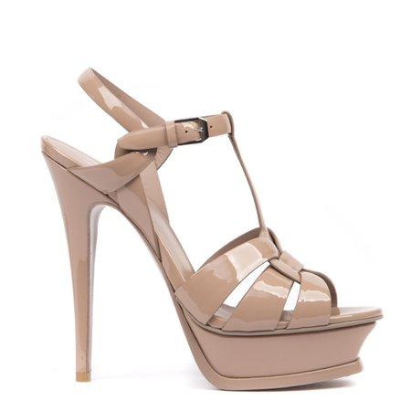 Saint Laurent Nude Patent Leather Tribute Sandals
