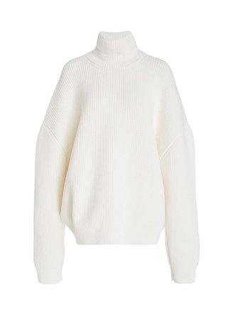 white oversized turtleneck knit