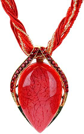 Amazon.com: SIZRCSM Boho Necklaces for Women, Bohemian Fashion Womens Long Casual Chunky Handmade Vintage Costume Necklaces stone Pendant Necklace for Women Jewelry for Women (red): Clothing