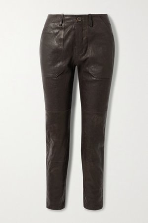 Leather Straight-leg Pants - Dark brown