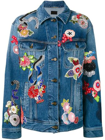 Saint Laurent floral patchwork denim jacket