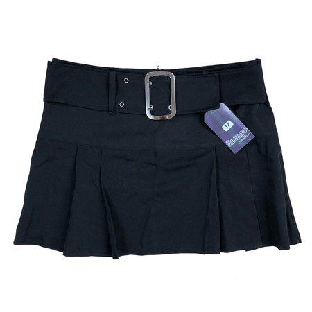 Deadstock Early 2000's Black, Grommet Belt Skirt 🖤... - Depop