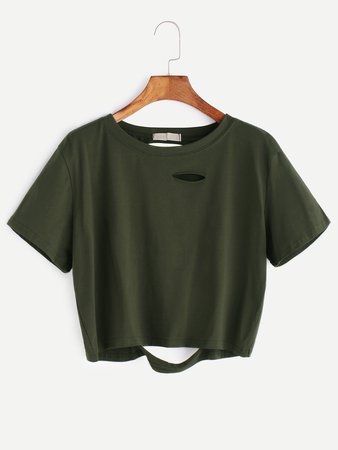 Army Green Ripped Crop T-shirt