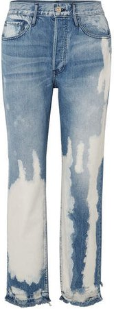 W3 Higher Ground Bleached Distressed High-rise Straight-leg Jeans - Mid denim