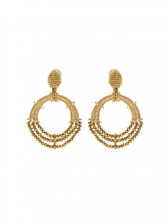 Gold Beaded Hoop Earrings - Jewelry