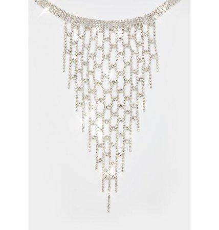 Rhinestone Net Fringe Necklace - Silver | Dolls Kill