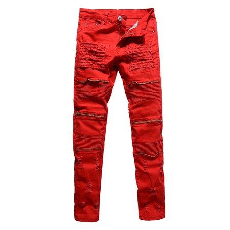 Calsunbaby - Calsunbaby Men's Distressed Ripped Biker Moto Denim Pants Slim Fit Jeans Red 28 - Walmart.com - Walmart.com