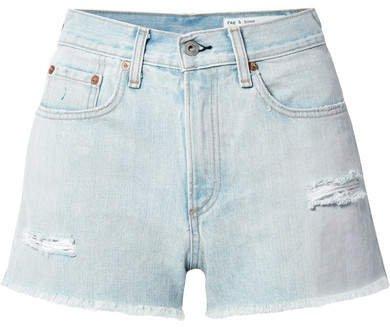 Justine Distressed Denim Shorts - Light denim