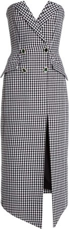 David Koma Houndstooth Tweed Midi Dress