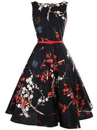 Black Floral Print Flare Dress With Belt