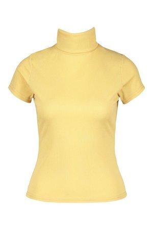 Rib turtleneck cap sleeve top | boohoo