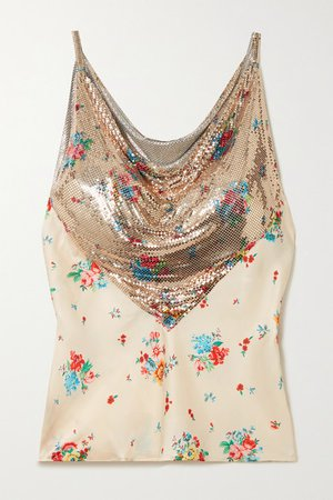 Floral-print Chainmail And Satin Camisole - Ivory