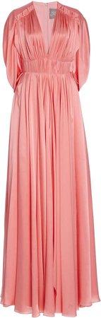 Lela Rose Gathered Satin Cape-Back Gown