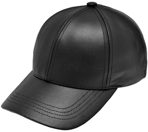 Black Leather Adjustable Baseball Cap Hat Made in USA at Amazon Men's Clothing store: Leather Caps Hats Men