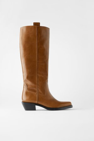 HEELED LEATHER SQUARE TOE COWBOY BOOTS | ZARA United States brown