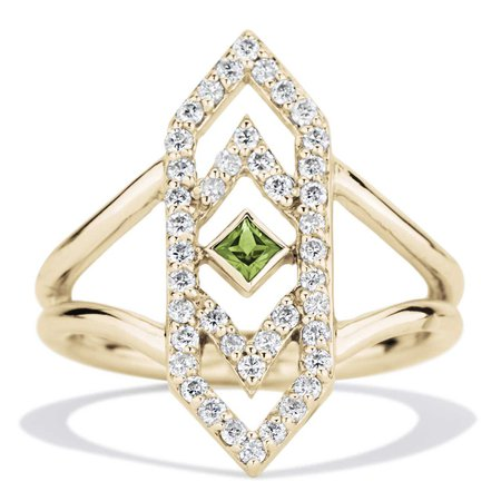 Gianna Ring with Green Sapphire and Diamonds in 14k Yellow Gold by GiGi Ferranti