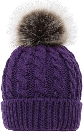 Simplicity Unisex Winter Hand Knit Faux Fur Pompoms Beanie 2 Pieces Purple/Cream at Amazon Women's Clothing store