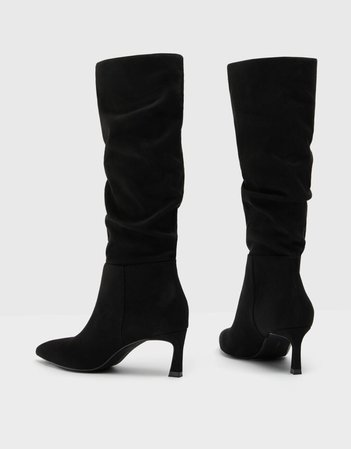 Mid-heel slouchy knee-high boots - Shoes - Woman | Bershka