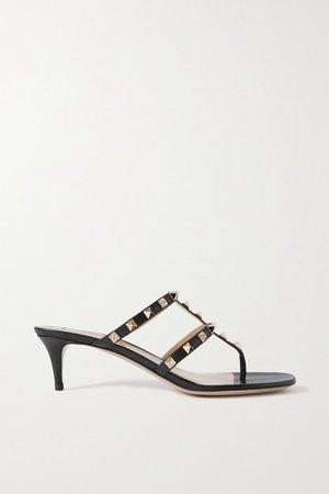 Garavani Rockstud 50 Leather Sandals - Black