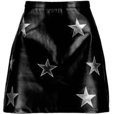 Boohoo Mia Leather Look Star Applique A Line Skirt