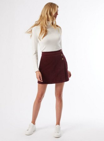 Berry Red Corduroy Wrap Mini Skirt