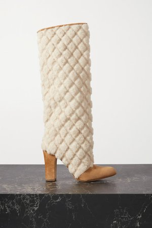 Khomiko Quilted Shearling And Suede Knee Boots - Beige