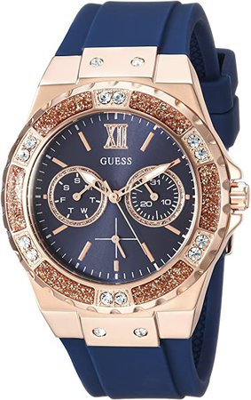 GUESS Women's Stainless Steel Japanese Quartz Watch with silicone Strap, Blue, 20 (Model: U1053L1): Watches