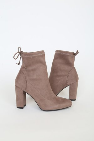 Taupe Booties - Chic Suede Sock Boots - Tying Ankle Booties - Lulus