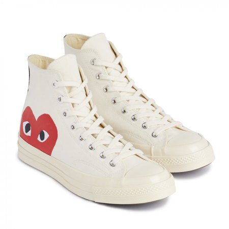 Play Comme des Garçons Converse Red Heart Chuck Taylor All Star '70 High (White)