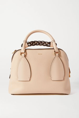 Beige Daria medium textured and smooth leather tote | Chloé | NET-A-PORTER
