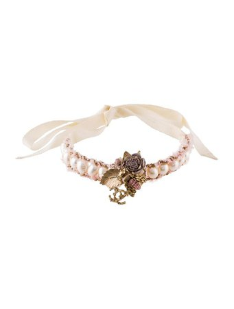 Chanel Strass Pearl & Ribbon Bee Choker Necklace - Necklaces - CHA350975 | The RealReal