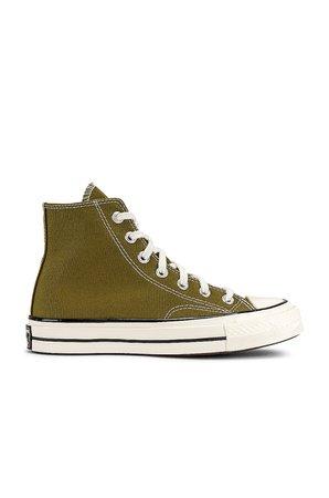 Converse Chuck 70 Hi Sneaker in Dark Moss, Egret, & Black | REVOLVE