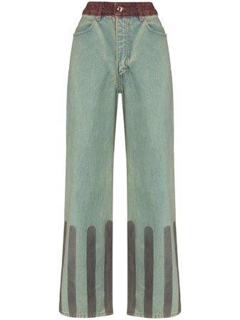 Eckhaus Latta Striped wide-leg Jeans - Farfetch