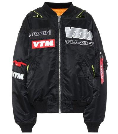 Appliquéd nylon bomber jacket