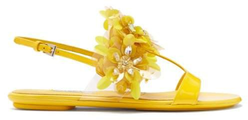 Sequinned Leather Slingback Sandals - Womens - Yellow