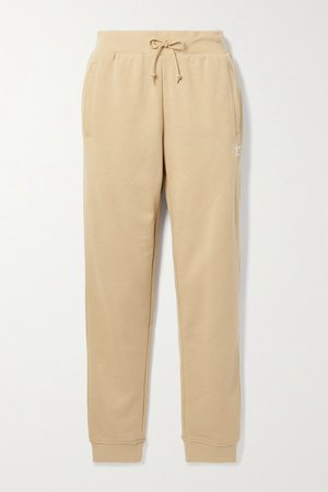 French Cotton-blend Terry Track Pants - Beige