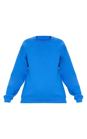 Recycled Cobalt Oversized Sweatshirt   Tops   PrettyLittleThing USA