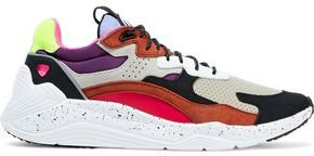 Daku Color-block Perforated Leather, Nubuck And Shell Sneakers
