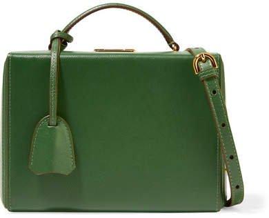 Grace Small Textured-leather Shoulder Bag - Leaf green