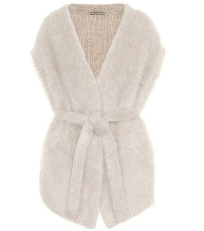 Sleeveless wool-blend cardigan