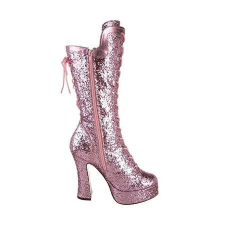 Pink Stripper Shoes Glitter Platform Lace up Mid-calf Boots for Night club, Dancing club, Music festival | FSJ