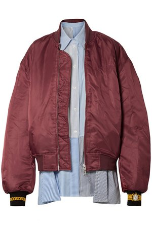 Plum Oversized layered shell and striped poplin bomber jacket | Sale up to 70% off | THE OUTNET | PUSHBUTTON | THE OUTNET